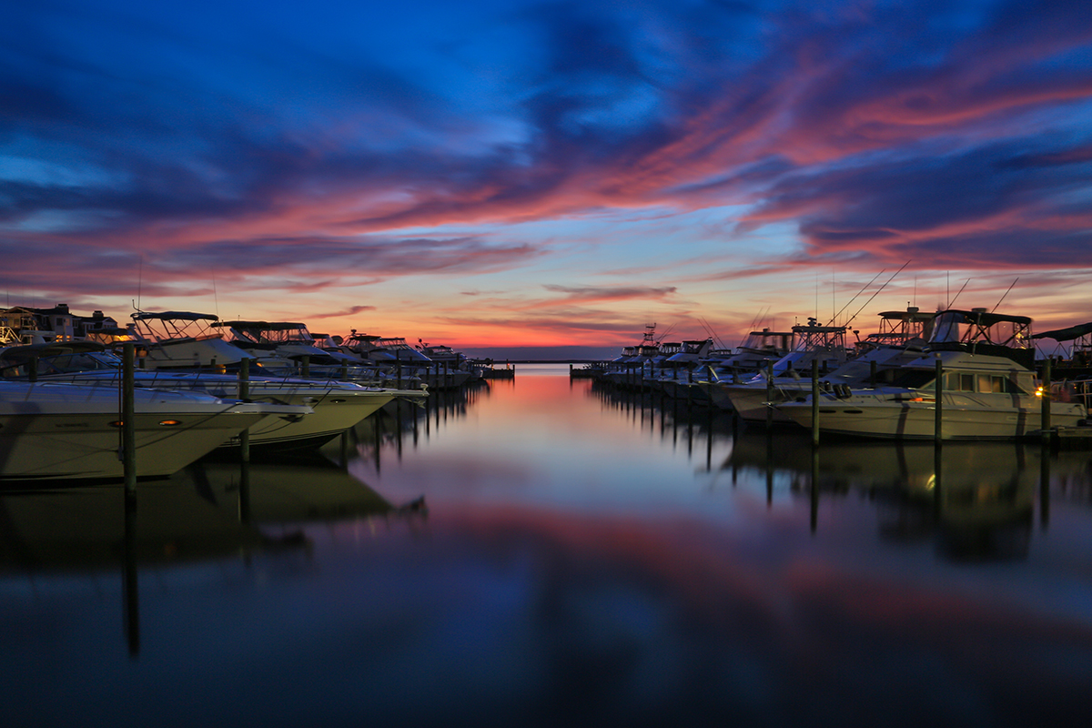 Shelter Harbor Marina at dusk